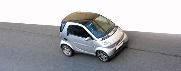 isolated clever smart small little car road speed