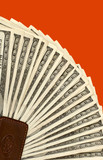 hundred dollars bills on red background poster