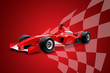 red formula one car and racing flag - 3138776