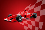 red formula one car and racing flag poster