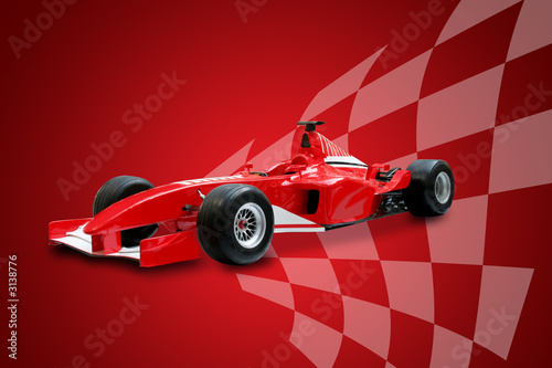 Poster red formula one car and racing flag