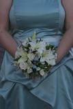 white flower bouquet blue dress gown poster