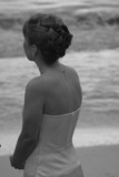 bride back on beach infrared poster