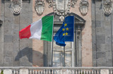 flags of italy and europe poster