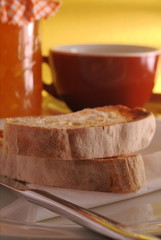 ciabatta toast with marmalade and coffee