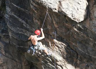 rock climber dangling