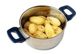 potatoes in cooker on white background poster