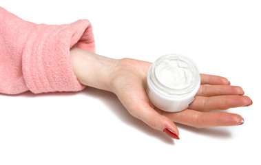 woman hand with cream