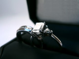 wedding ring and band - diamond and platinum in case poster