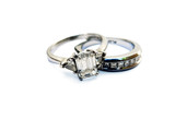 wedding ring & band - diamond & platinum poster