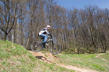 mountain biker is flying