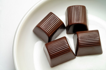 chocolate candies in a dish