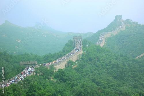 Fotobehang Chinese Muur foule sur la grande muraille