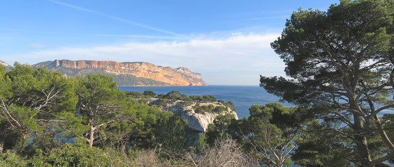 french calanques with the canaille cap in background, cassis, ma