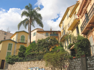 provencal yellow house of menton with a plam tree, azur coast, s