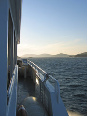 the port cros island from a big sea boat, porquerolles island, a