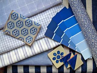 blue & white interior design planning