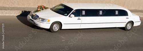 car wedding limousine flowers ride newlyweds