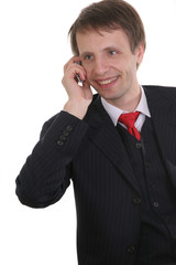 businessman talking cell phone