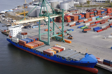 container-port seen from helicopter