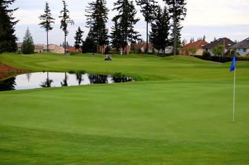 golf course in rain