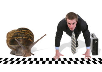 business man racing snail