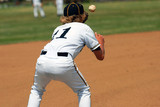 catching ball on first base poster