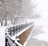 embankment at snowfall