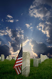 national cemetery with american flag
