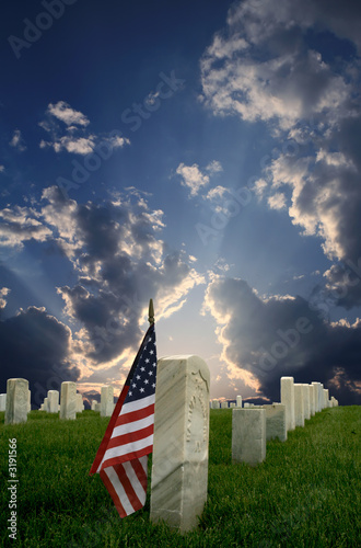 Fotobehang Historisch mon. national cemetery with american flag