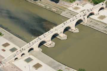areal view of the stone bridge on vardar river