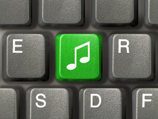 computer keyboard with music key