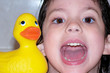 child & rubber ducky/duck