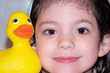 child & rubber duck