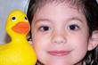 child & rubber duck