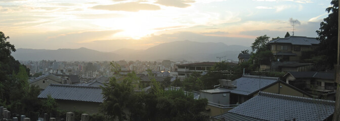 view on the japanese city at the sunset, kyoto, japan, panorama