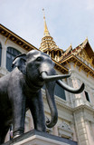 elephant statue at the grand palace in bangkok, th poster