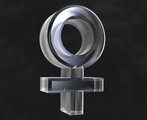 simbolo femmina venere in vetro trasparente