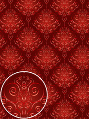 red damask style pattern