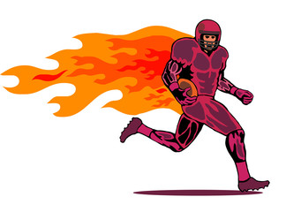 american football red with flames