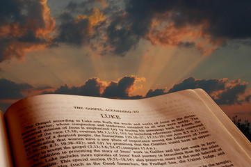 bible at sunset