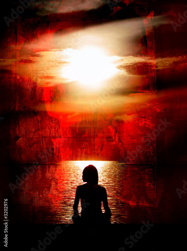 woman meditating on red grunge background