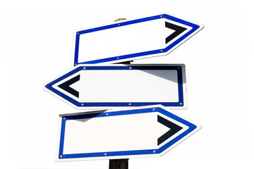 blank three-way direction signpost.