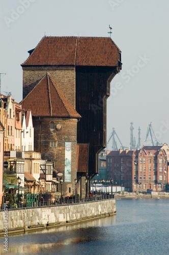 Fotobehang Kanaal old crane gdansk