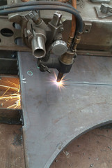 cutting of a steel plate