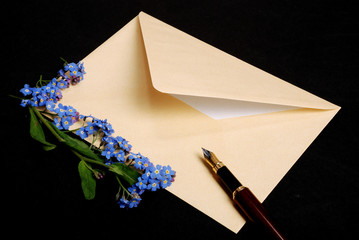 envelope with forget-me-not-flowers