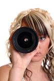 girl examine lense poster