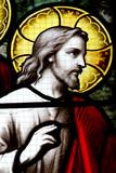 christ sur un vitrail poster
