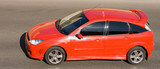 red sport hatchback car racing drive high speed