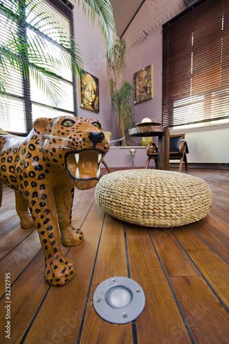 poster of salon intérieur appartement loft style africain